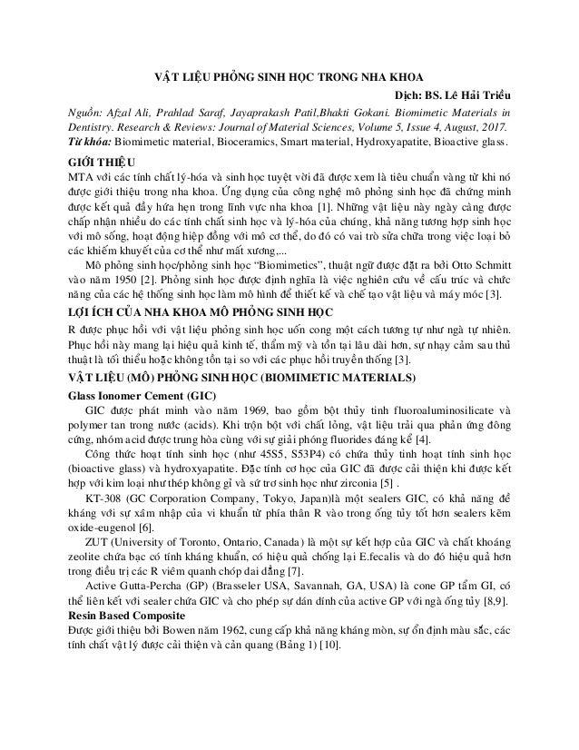 VAÄT LIEÄU PHOÛNG SINH HOÏC TRONG NHA KHOA Dòch: BS. Leâ Haûi Trieàu Nguoàn: Afzal Ali, Prahlad Saraf, Jayaprakash Patil,B...
