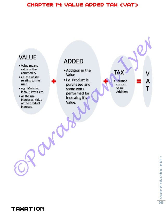 © Pa ra su ra m Iyer CHAPTER 14: VALUE ADDED TAX (VAT) TAXATION Chapter14:ValueAddedTax(VAT) 265 VALUE • Value means value...