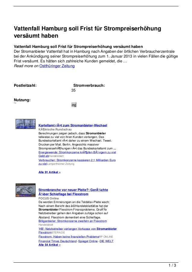 Vattenfall Hamburg soll Frist für Strompreiserhöhungversäumt habenVattenfall Hamburg soll Frist für Strompreiserhöhung ver...