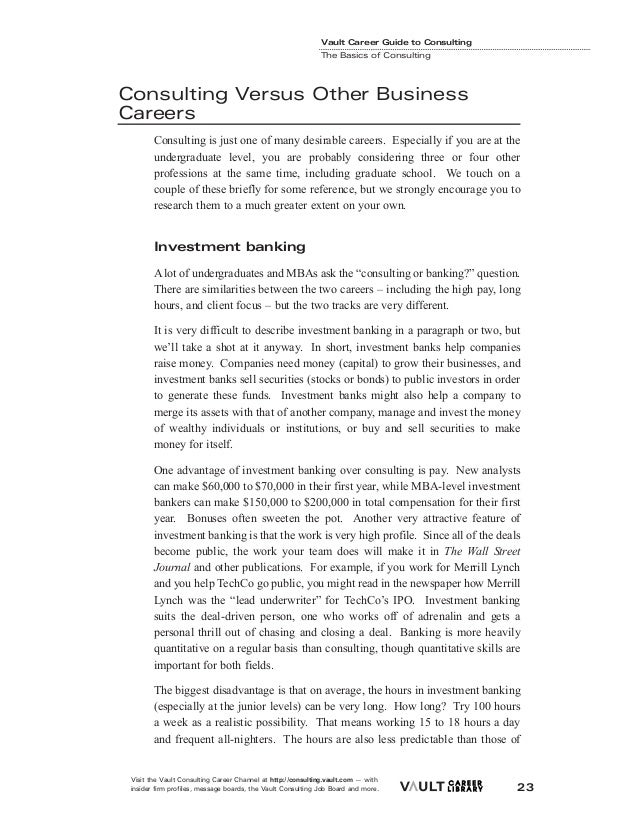 Career guide consulting career22 library 2002 vault inc 28 vault career guide to consulting the basics of consultingconsulting versus other businesscareers consulting is fandeluxe Choice Image