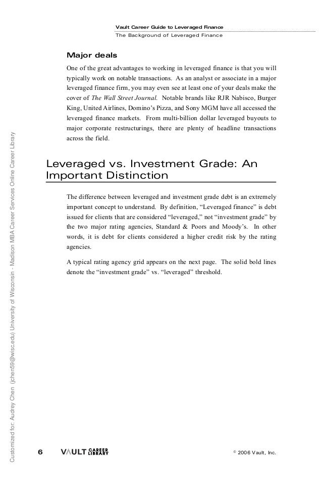 Leveraged Finance (LevFin) - The Definitive Guide