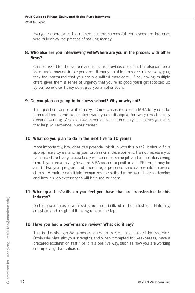 career guide private equity and hedge fund interview
