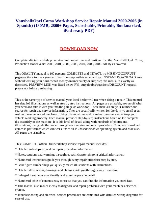 vauxhall opel corsa workshop service repair manual 2000 2006 in span rh slideshare net opel corsa c service manual opel corsa c repair manual pdf