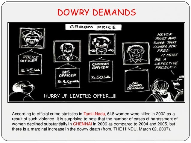 DOWRY DEMANDS According to official crime statistics in Tamil-Nadu, 618 women were killed in 2002 as a result of such viol...