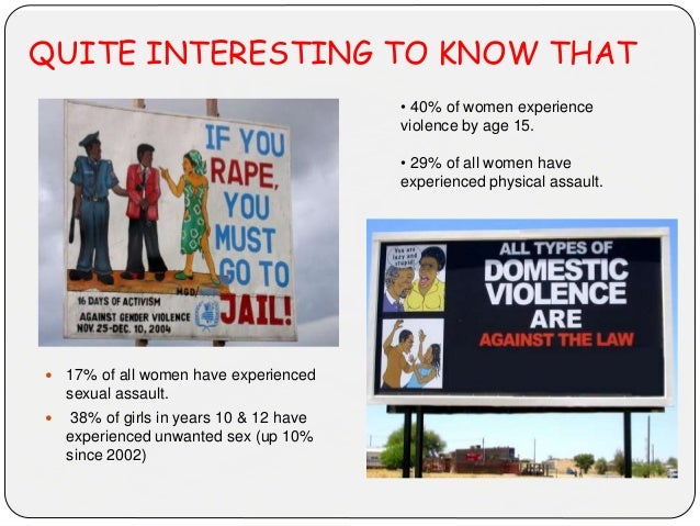 QUITE INTERESTING TO KNOW THAT  17% of all women have experienced sexual assault.  38% of girls in years 10 & 12 have ex...