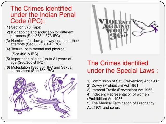 The Crimes identified under the Indian Penal Code (IPC): (1) Section 376 (rape) (2) Kidnapping and abduction for different...