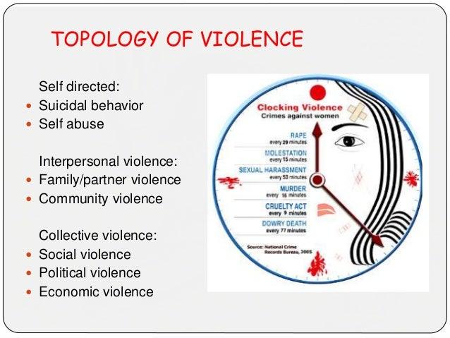 TOPOLOGY OF VIOLENCE Self directed:  Suicidal behavior  Self abuse Interpersonal violence:  Family/partner violence  C...