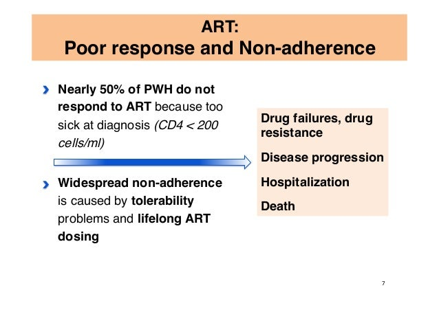 Nearly 50% of PWH do not respond to ART because too sick at diagnosis (CD4 < 200 cells/ml) Widespread non-adherence is cau...