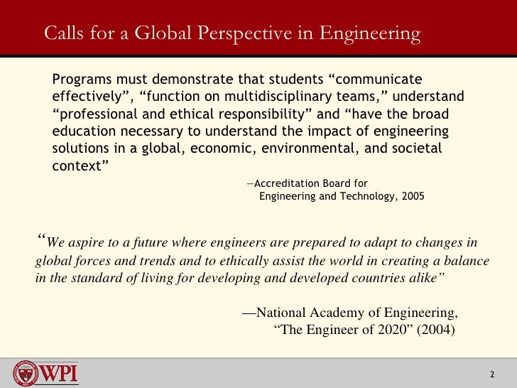Preparing the Engineer of the Future, Part II:  Projects around the Globe Slide 2
