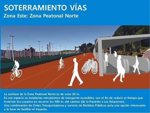 SOTERRAMIENTO VÍAS Zona Este: Zona Peatonal Norte La anchura de la Zona Peatonal Norte es de unos 20 m. En ese espacio se ...