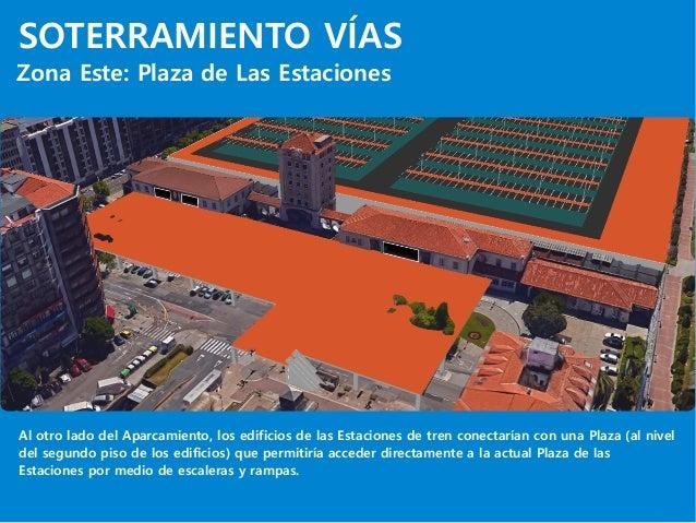 SOTERRAMIENTO VÍAS Zona Este: Plaza de Las Estaciones Al otro lado del Aparcamiento, los edificios de las Estaciones de tr...