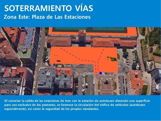 SOTERRAMIENTO VÍAS Zona Este: Plaza de Las Estaciones Al conectar la salida de las estaciones de tren con la estación de a...