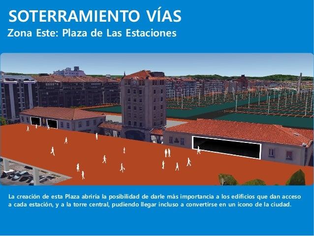 SOTERRAMIENTO VÍAS Zona Este: Plaza de Las Estaciones La creación de esta Plaza abriría la posibilidad de darle más import...