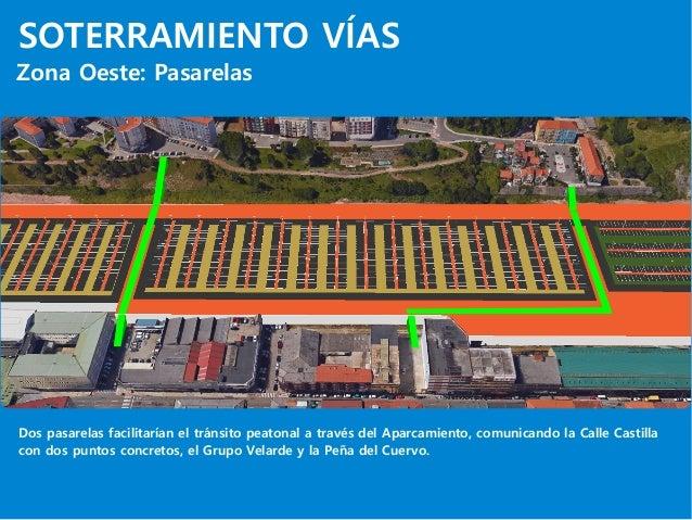 SOTERRAMIENTO VÍAS Zona Oeste: Pasarelas Dos pasarelas facilitarían el tránsito peatonal a través del Aparcamiento, comuni...