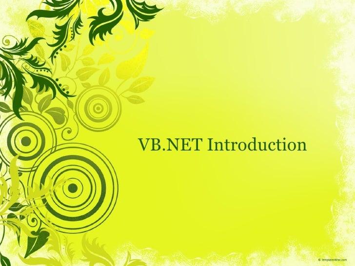 VB.NET Introduction