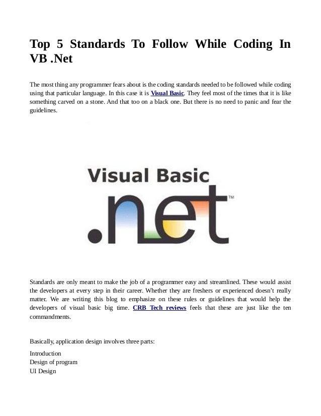 Top VB  Net Coding Standards