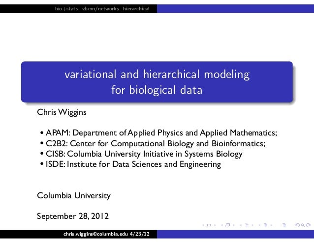 bio+stats vbem/networks hierarchicalvariational and hierarchical modelingfor biological datachris wigginscolumbiaapril 23,...