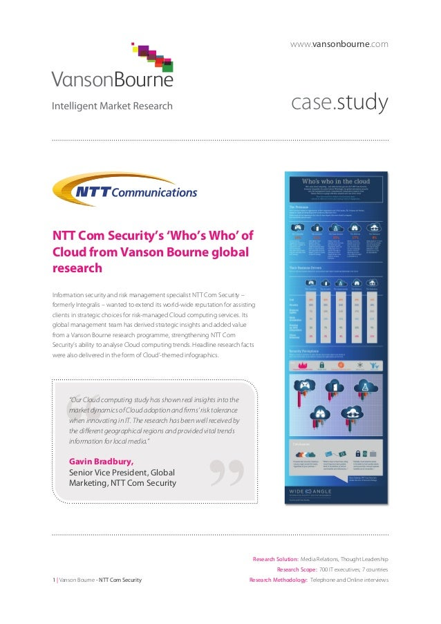 www.vansonbourne.com  case.study  NTT Com Security's 'Who's Who' of Cloud from Vanson Bourne global research Information s...