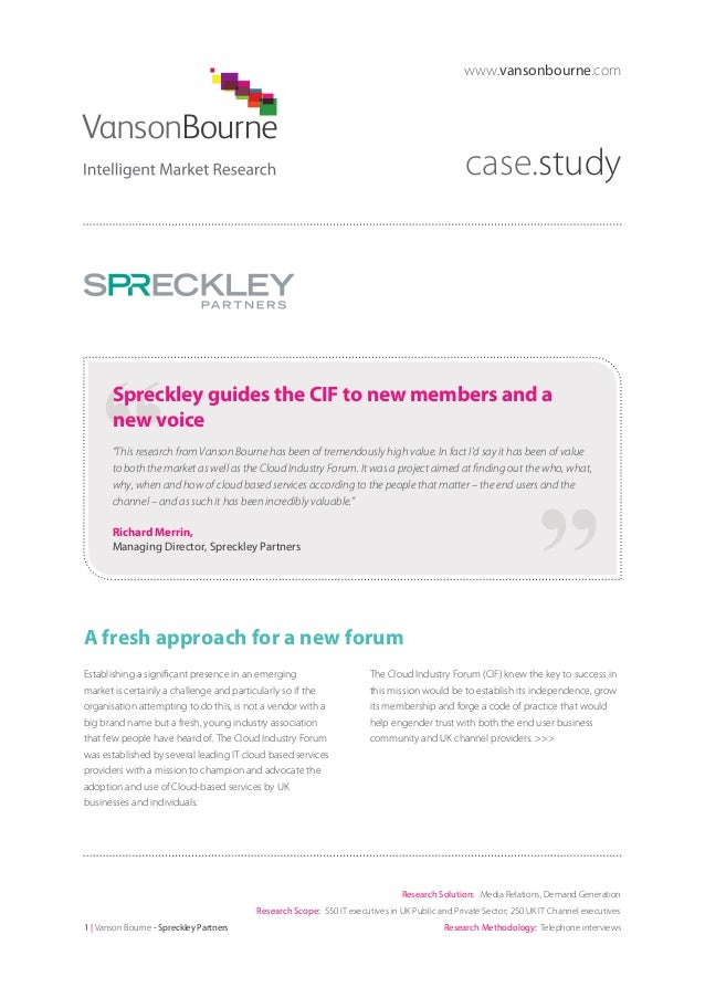 "www.vansonbourne.com  case.study  Spreckley guides the CIF to new members and a new voice ""This research from Vanson Bourn..."