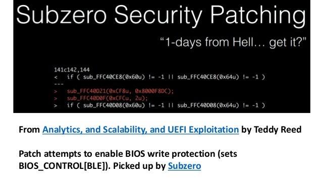 CHIPSEC: Platform Security Assessment Framework  chipsec_main.py runs modules (see modules dir below)  chipsec_util.py run...