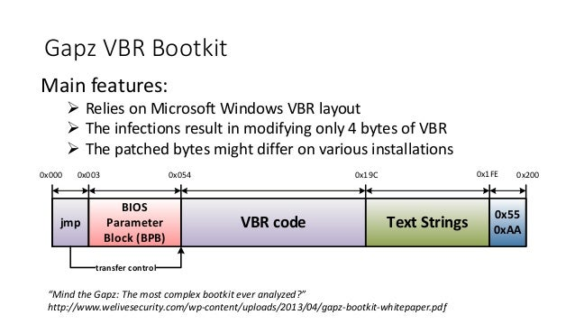 Gapz VBR Bootkit  Main features:   Relies on Microsoft Windows VBR layout   The infections result in modifying only 4 by...