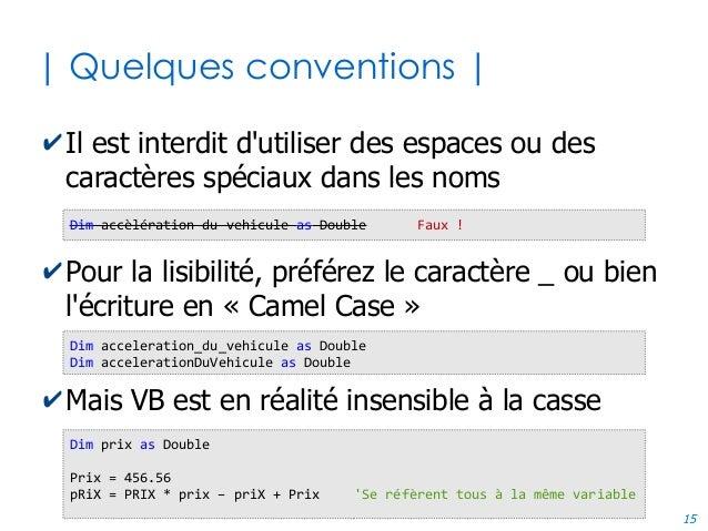 15 | Quelques conventions | ✔Il est interdit d'utiliser des espaces ou des caractères spéciaux dans les noms ✔Pour la lisi...