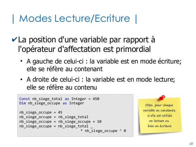 16 | Modes Lecture/Ecriture | ✔La position d'une variable par rapport à l'opérateur d'affectation est primordial ● A gauch...
