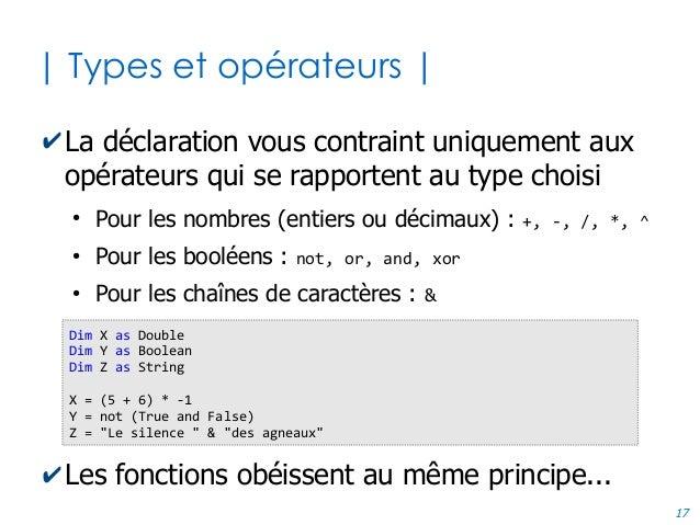 17 | Types et opérateurs | ✔La déclaration vous contraint uniquement aux opérateurs qui se rapportent au type choisi ● Pou...