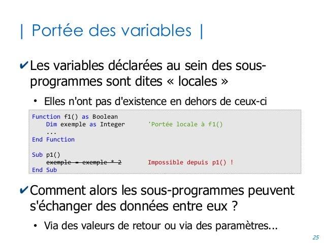 25 | Portée des variables | ✔Les variables déclarées au sein des sous- programmes sont dites « locales » ● Elles n'ont pas...