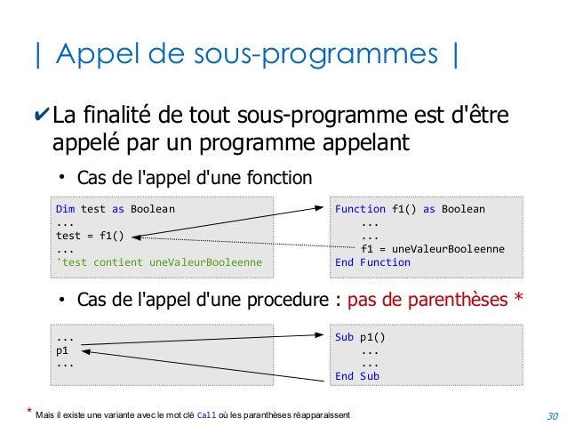 30 | Appel de sous-programmes | ✔La finalité de tout sous-programme est d'être appelé par un programme appelant ● Cas de l...