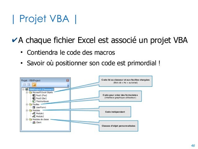 46 | Projet VBA | ✔A chaque fichier Excel est associé un projet VBA ● Contiendra le code des macros ● Savoir où positionne...