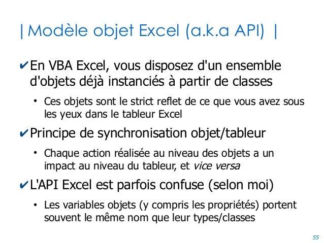 55 |Modèle objet Excel (a.k.a API) | ✔En VBA Excel, vous disposez d'un ensemble d'objets déjà instanciés à partir de class...