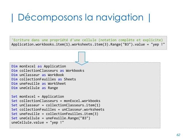 62 | Décomposons la navigation | Dim monExcel as Application Dim collectionClasseurs as Workbooks Dim unClasseur as WorkBo...