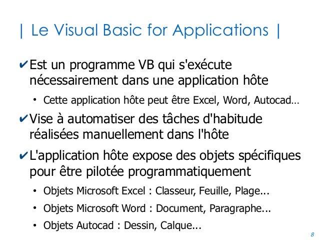 8 | Le Visual Basic for Applications | ✔Est un programme VB qui s'exécute nécessairement dans une application hôte ● Cette...