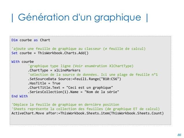 86 | Génération d'un graphique | Dim courbe as Chart 'ajoute une feuille de graphique au classeur (≠ feuille de calcul) Se...