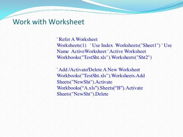 Vba – Activate Worksheet Vba