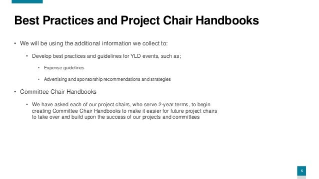 5 Best Practices and Project Chair Handbooks • We will be using the additional information we collect to: • Develop best p...