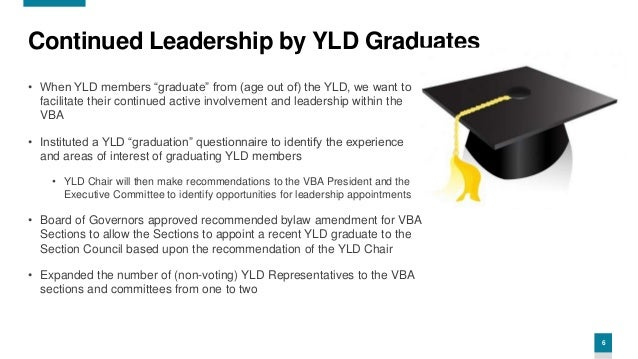 """6 Continued Leadership by YLD Graduates • When YLD members """"graduate"""" from (age out of) the YLD, we want to facilitate the..."""