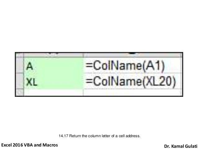 Excel 2016 VBA And Macros Dr Kamal Gulati 28 1417 Return The Column Letter