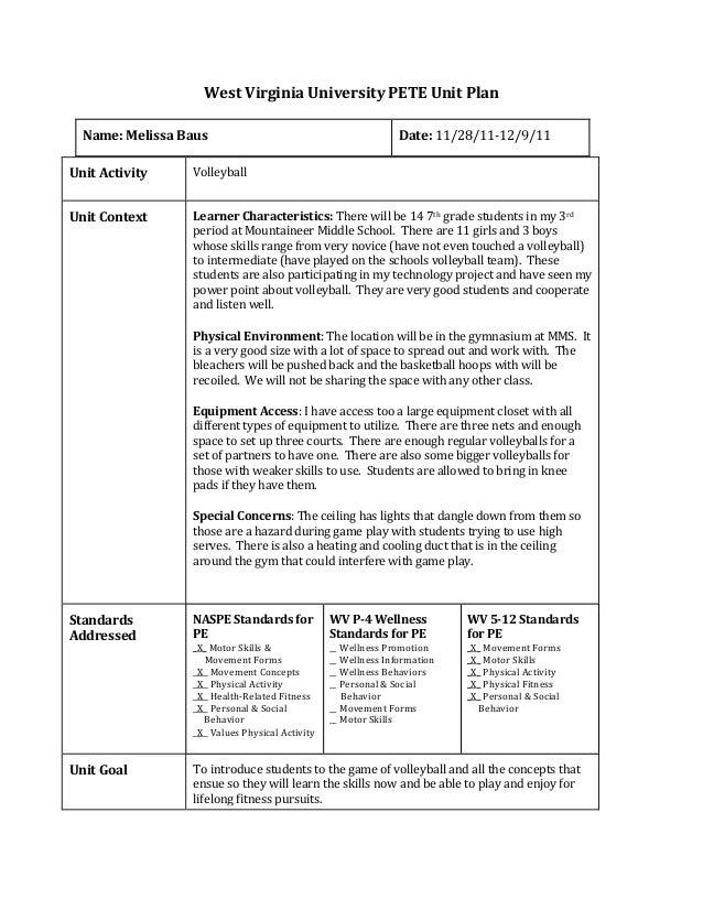 Full Volleyball Unit Plan