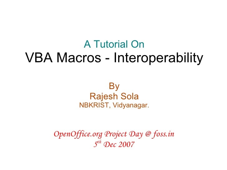 Vba Macros Interoperability