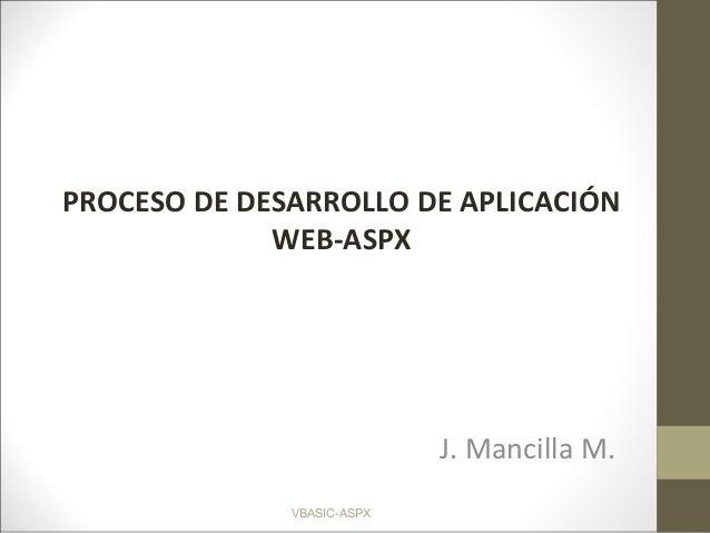 VBASIC-ASPX PROCESO DE DESARROLLO DE APLICACIÓN WEB-ASPX J. Mancilla M.