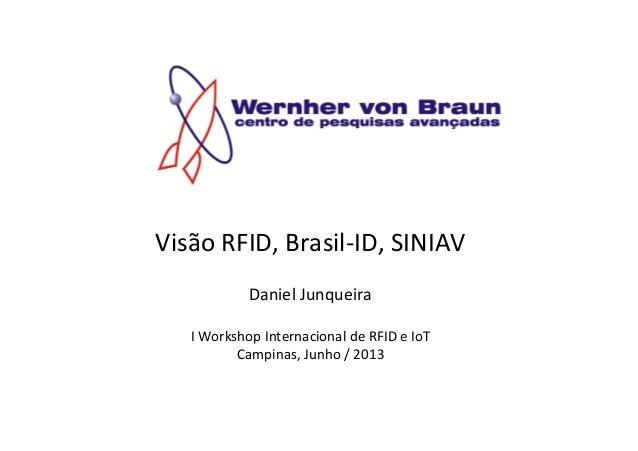 Visão RFID, Brasil-‐ID, SINIAV  Daniel Junqueira  I Workshop Internacional de RFID e IoT Ca...