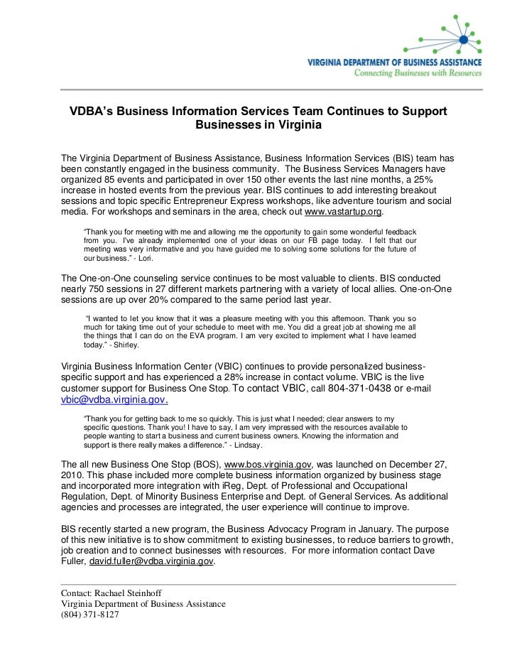 VDBA's Business Information Services Team Continues to Support                      Businesses in VirginiaThe Virginia Dep...