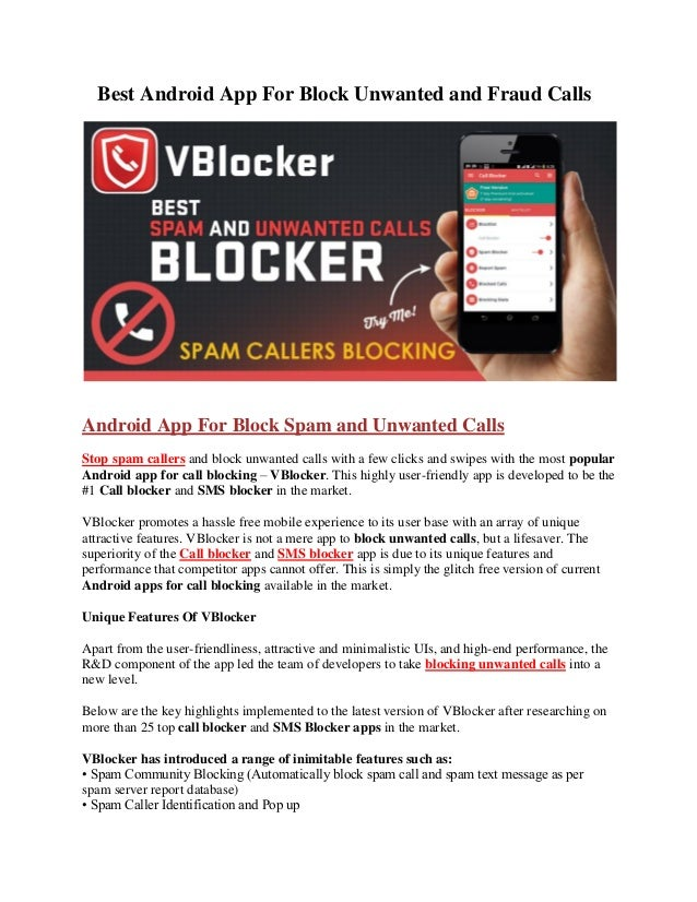 Vblocker Call And Sms Blocker Android App