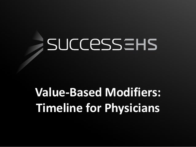 Value-Based Modifiers:Timeline for Physicians