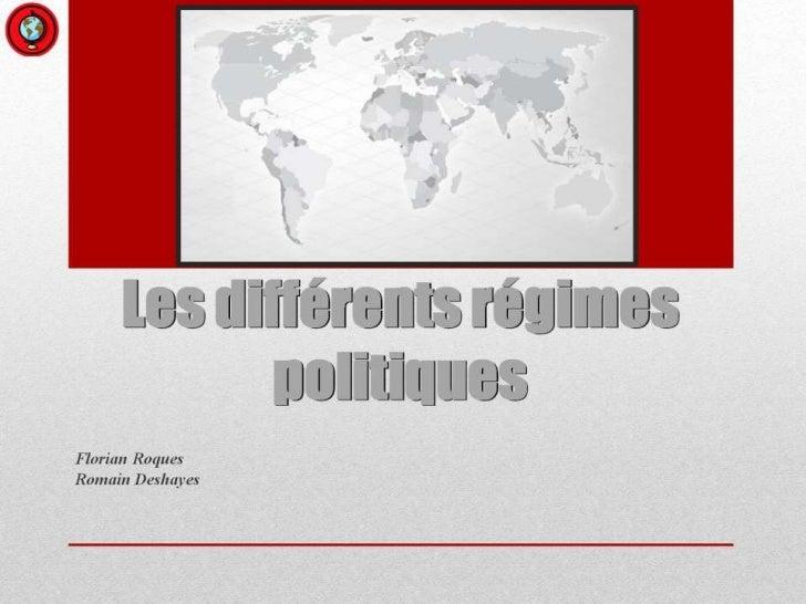 Les différents régimes politiques<br />