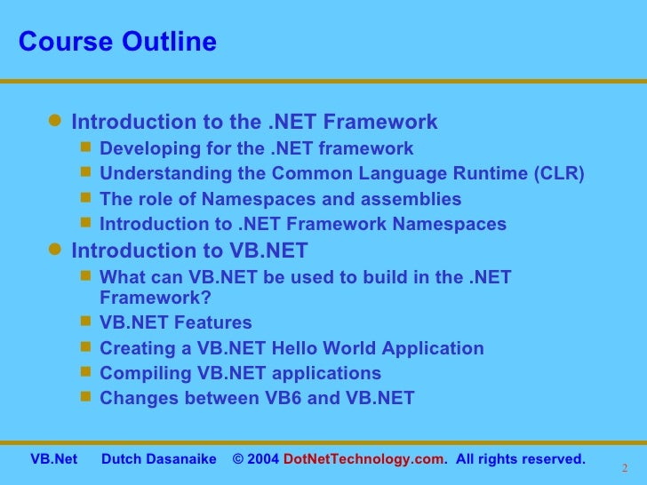introduction to visual studio net Welcome to this series of lessons about the visual basic programming language bob tabor from learnvisualstudionet introduces the topic, sets expectations and tips on how to get the most out of this.