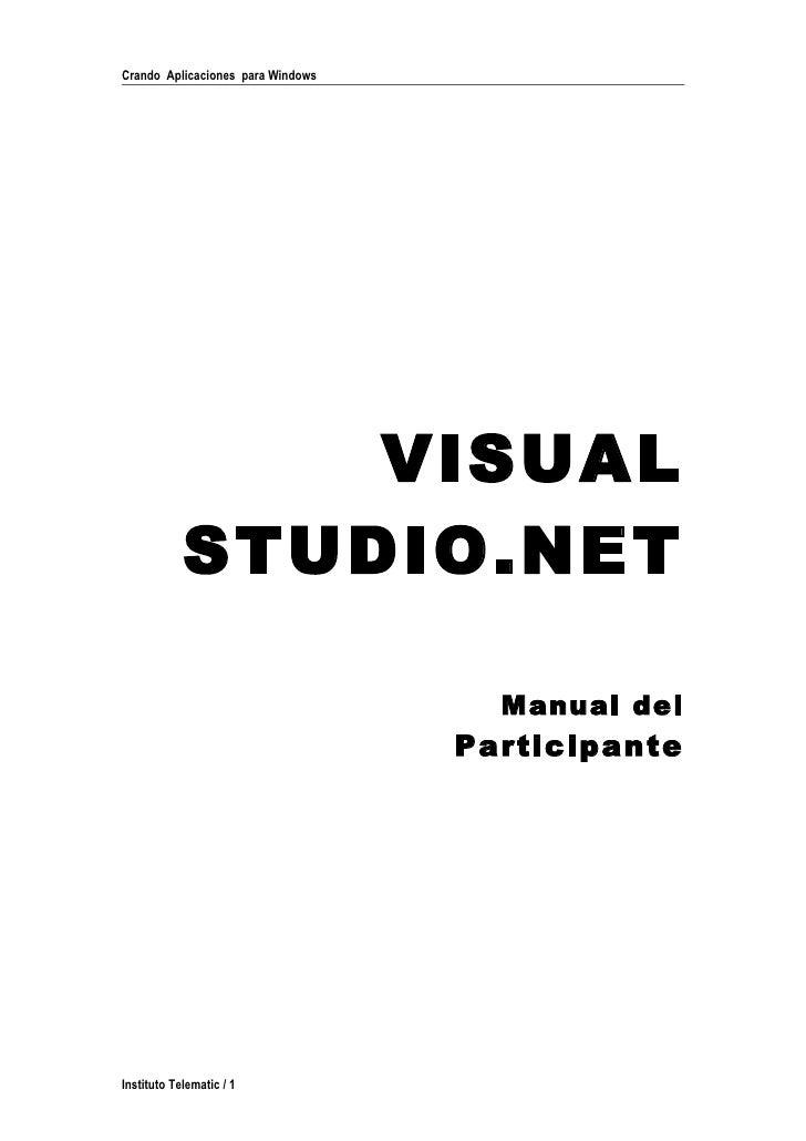 Crando Aplicaciones para Windows                     VISUAL             STUDIO.NET                                       M...