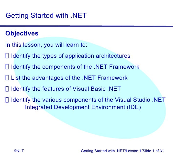 Getting Started with .NETObjectivesIn this lesson, you will learn to:Identify the types of application architecturesIdenti...